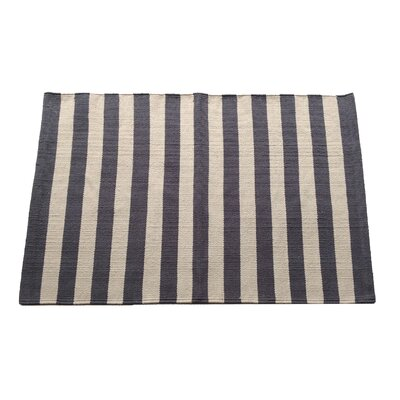 Narrow Charcoal/Beige Stripe Area Rug Rug Size: 25 x 42