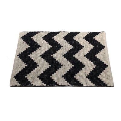 Chevron Black/Beige Area Rug Rug Size: 2' x 3'