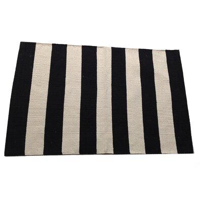 Widestripe Black/Beige Area Rug Rug Size: 2 x 3