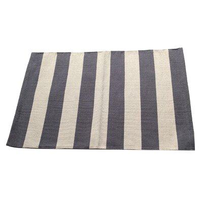 Widestripe Charcoal/Beige Area Rug Rug Size: 25 x 42