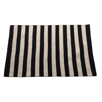 Narrow Black/Beige Stripe Area Rug Rug Size: 25 x 42