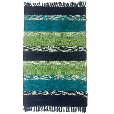 Danette Handmade Teal Area Rug Size: 2 x 3