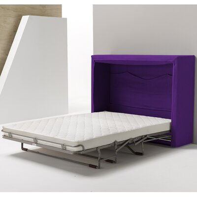 Sue Full/Double Upholstered Murphy Bed with Mattress Color: Purple