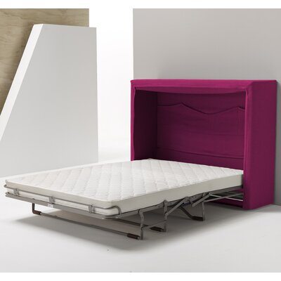 Sue Full/Double Upholstered Murphy Bed with Mattress Color: Pink