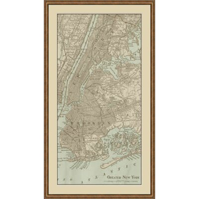 Tinted Map of New York Framed Graphic Art GBL64886
