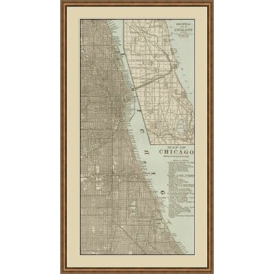 Tinted Map of Chicago Framed Graphic Art GBL64887