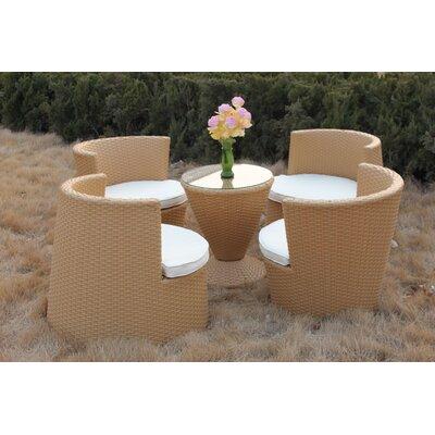 4-Sitzer Gartengarnitur mit Polster   Garten > Gartenmöbel > Gartenmöbel-Set   Naturalbeigeclear   Polyrattan - Geflecht - Rattan - Glas   MP Home & Garden