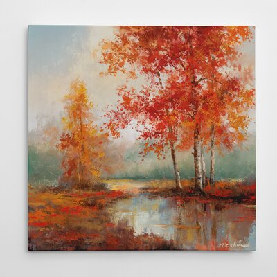'Autumn's Grace II' Oil Painting Print on Wrapped Canvas Size: 16