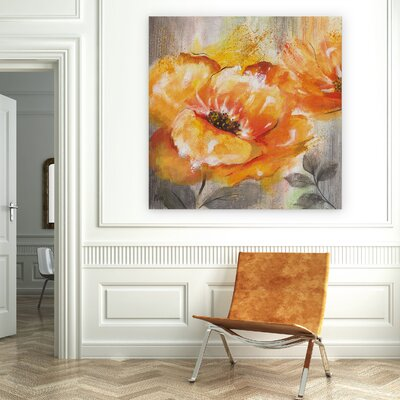 'Orange Crush I' Oil Painting Print on Wrapped Canvas Size: 16