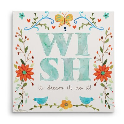 'Garden Sketch Wish' Textual Art on Wrapped Canvas Size: 16