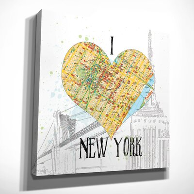 'I Love NY Map' Graphic Art Print on Wrapped Canvas Size: 16