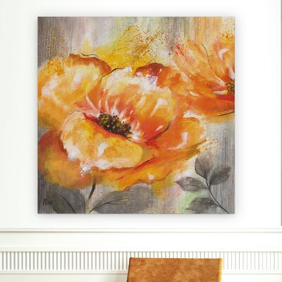 'Orange Crush I' Oil Painting Print on Wrapped Canvas Size: 40