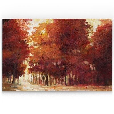 'Afternoon Light' Oil Painting Print on Wrapped Canvas in Red Size: 18