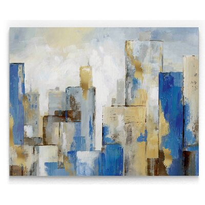 'City Blues II' Watercolor Painting Print on Wrapped Canvas Size: 16