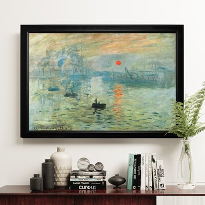'Impression Sunrise' Wood Framed Oil Painting Print on Wrapped Canvas