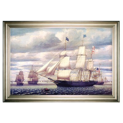 'Southern Cross Leaving Boston Harbor' Framed Oil Painting Print on Wrapped Canvas
