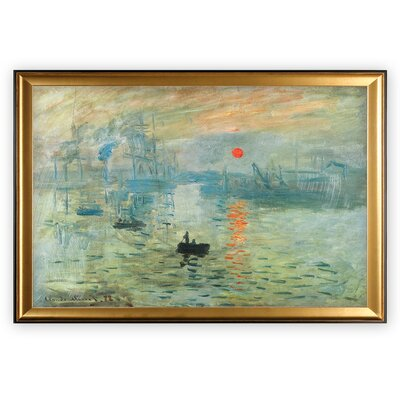 'Impression Sunrise' Framed Oil Painting Print on Wrapped Canvas
