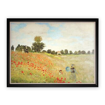 'Poppy Field' Wood Framed Oil Painting Print on Wrapped Canvas