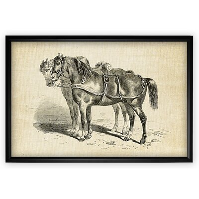 'Equine Plate I' Framed Oil Painting Print on Wrapped Canvas