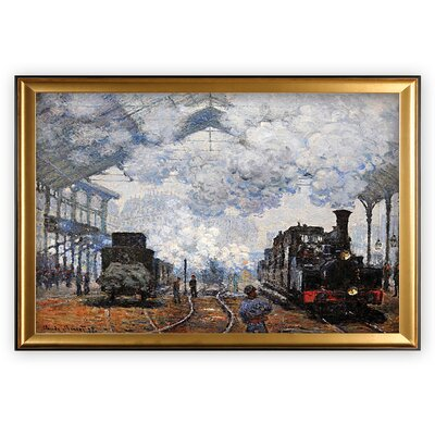 'Saint Lazare Station, Exterior' Wood Framed Oil Painting Print on Wrapped Canvas