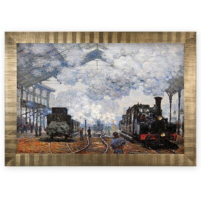 'Saint Lazare Station, Exterior' Rectangle Wood Framed Oil Painting Print on Wrapped Canvas