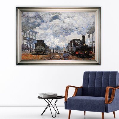 'Saint Lazare Station, Exterior' Framed Oil Painting Print on Wrapped Canvas