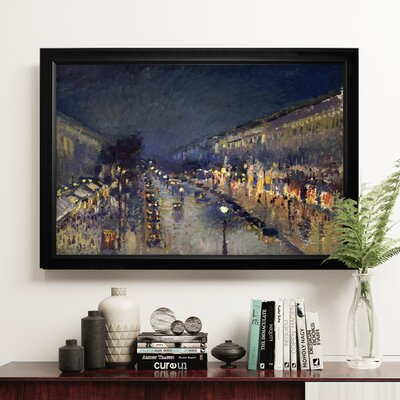 'The Boulevard Montmartre' by Camille Pissarro Rectangle Framed Oil Painting Print on Wrapped Canvas