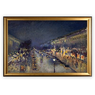'The Boulevard Montmartre' by Camille Pissarro Wood Framed Oil Painting Print on Wrapped Canvas
