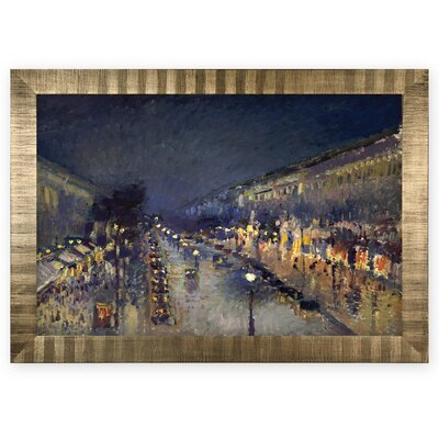 'The Boulevard Montmartre' by Camille Pissarro Rectangle Wood Framed Oil Painting Print on Wrapped Canvas