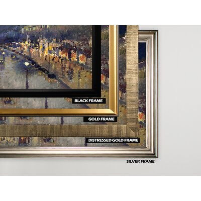 'The Boulevard Montmartre' by Camille Pissarro Framed Oil Painting Print on Wrapped Canvas