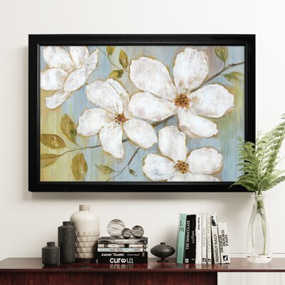 'White Blossoms' Rectangle Framed Oil Painting Print on Wrapped Canvas
