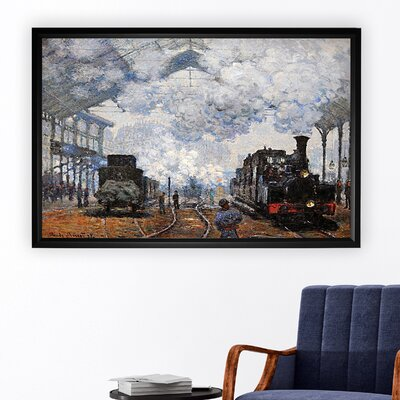 'Saint Lazare Station, Exterior' Rectangle Framed Oil Painting Print on Wrapped Canvas