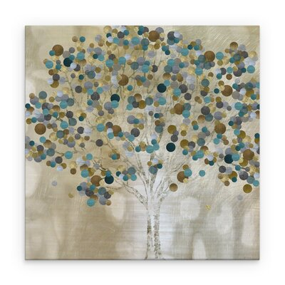 'Teal Tree' Graphic Art Print on Wrapped Canvas Size: 16