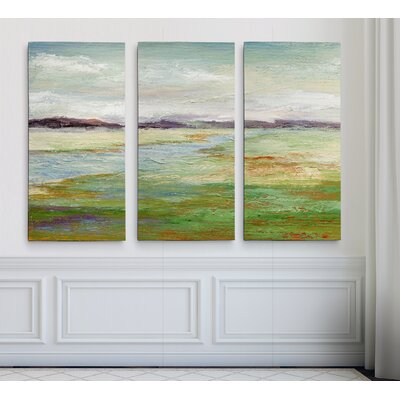'Meadow Stream II' Acrylic Painting Print Multi-Piece Image on Gallery Wrapped Canvas Size: 24