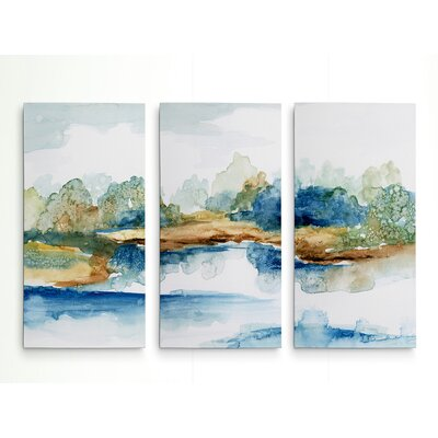 'Blue Serenity' Acrylic Painting Print Multi-Piece Image on Wrapped Canvas Size: 24