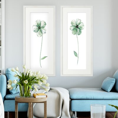 'Sage Flower' 2 Piece Framed Acrylic Painting Print Set
