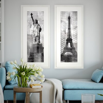 'Modern Lady Liberty' 2 Piece Framed Graphic Art Print Set