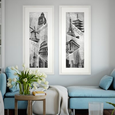 'Destinations' 2 Piece Framed Graphic Art Print Set