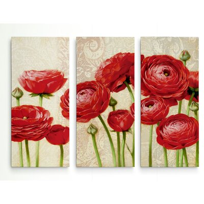 'Red Serenity and Lace II' Acrylic Painting Print Multi-Piece Image on Gallery Wrapped Canvas Size: 24