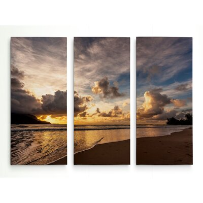 'Sunset in Hanalei Bay' Photographic Print Multi-Piece Image on Wrapped Canvas Size: 24