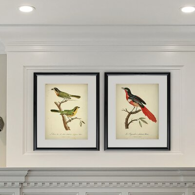 'Aviary Pair' 2 Piece Framed Acrylic Painting Print Set ALTH4585 43370448