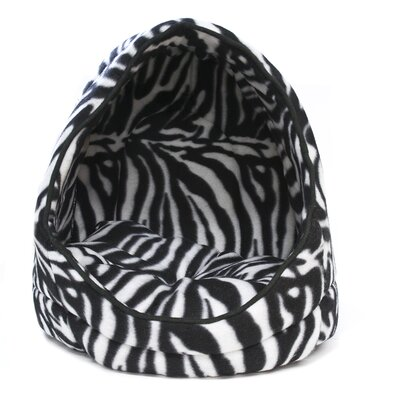 Zebra Open Hooded Dog Bed with Removable Cushion
