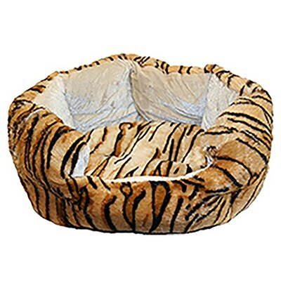 Tiger Fluffy Fleece Cuddler Dog Bed