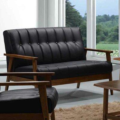 Aarhus Leather Loveseat Upholstery: Black
