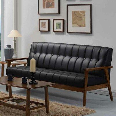 Aarhus Leather Sofa Upholstery: Black