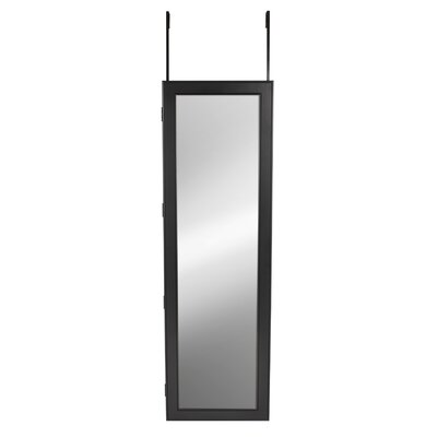 Storage Over the Door Jewelry Armoire with Mirror Color: Satin Black