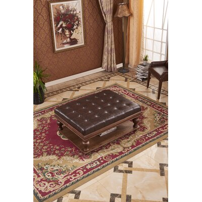 Classic Upholstered Ottoman Upholstery: Dark Brown