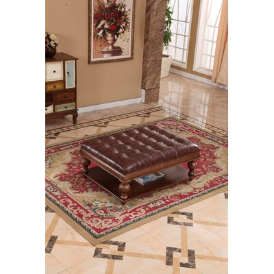 Classic Upholstered Ottoman Upholstery: Beige/Brown