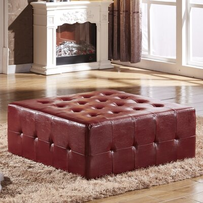 Tufted Cocktail Ottoman Upholstery: Burgundy Red