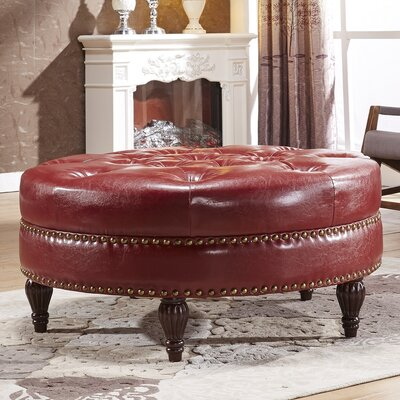 Cocktail Ottoman Upholstery: Burgundy Red